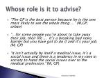 whose role is it to advise