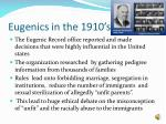 eugenics in the 1910 s