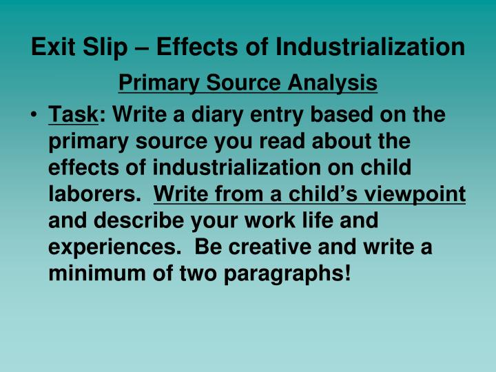 Exit Slip – Effects of Industrialization