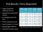 pld results films deposited