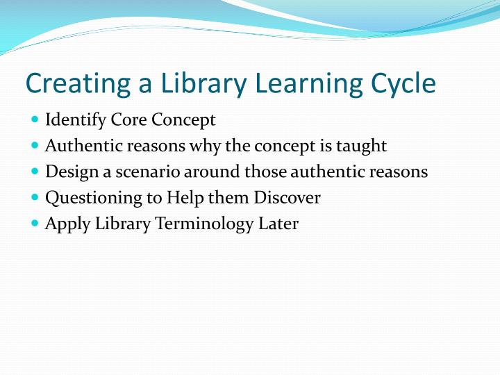 Creating a Library Learning Cycle