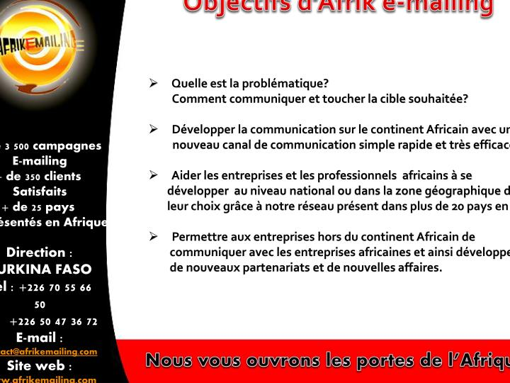 Objectifs d'Afrik e-mailing