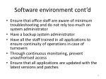 software environment cont d