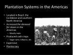 plantation systems in the americas