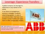 leverage experience transfers