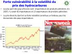 forte vuln rabilit la volatilit du prix des hydrocarbures