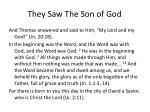 they saw the son of god