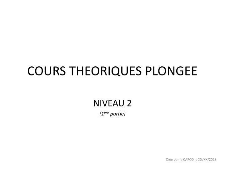 cours theoriques plongee n.