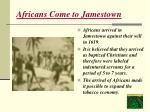 africans come to jamestown
