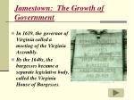 jamestown the growth of government