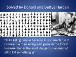 solved by donald and bettye harden