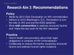 research aim 3 recommendations