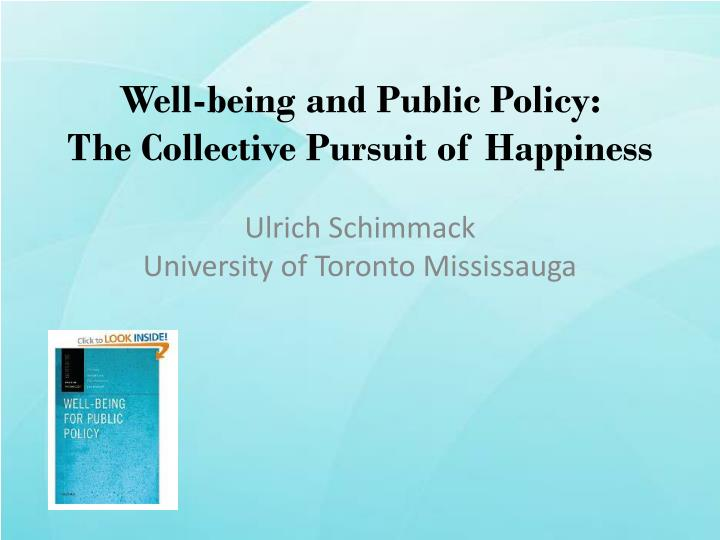 well being and public policy the collective pursuit of happiness n.