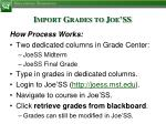 import grades to joe ss