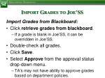 import grades to joe ss3