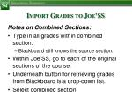 import grades to joe ss4
