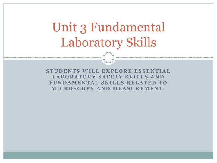 unit 3 fundamental laboratory skills n.