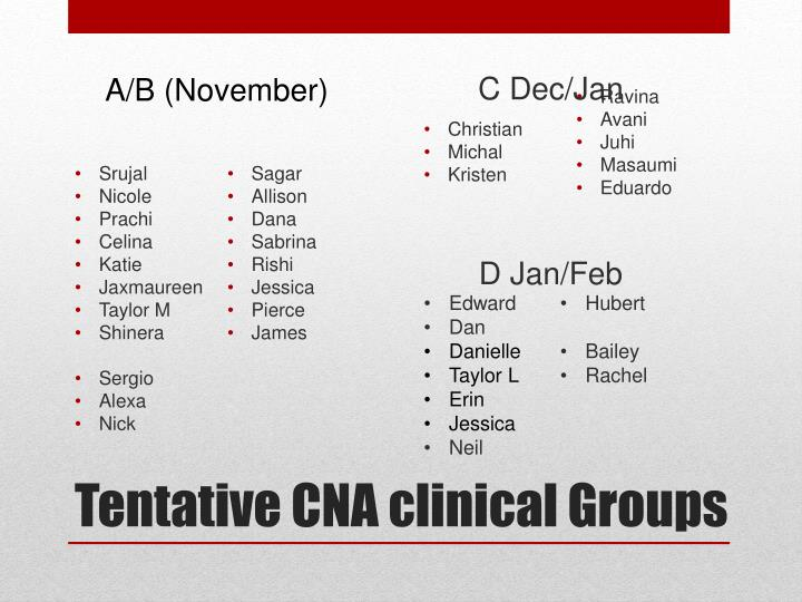 tentative cna clinical groups n.