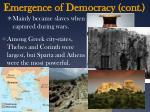 emergence of democracy cont