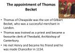 the appointment of thomas becket