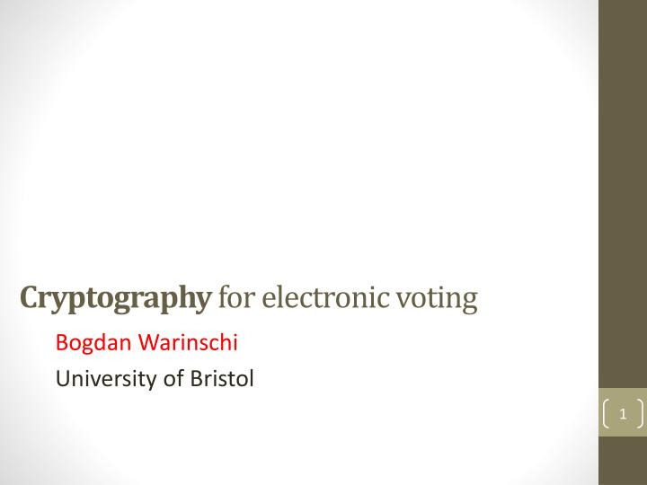 cryptography for electronic voting n.