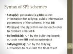 syntax of sps schemes