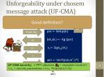 unforgeability under chosem message attack uf cma