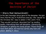 the importance of the doctrine of christ13