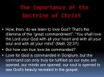 the importance of the doctrine of christ5
