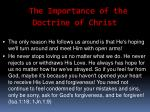 the importance of the doctrine of christ8