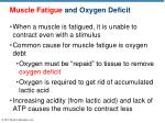 muscle fatigue and oxygen deficit