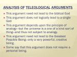analysis of teleological arguments