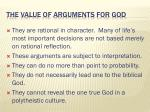 the value of arguments for god2