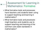 assessment for learning in mathematics formative