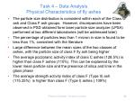 task 4 data analysis physical characteristics of fly ashes