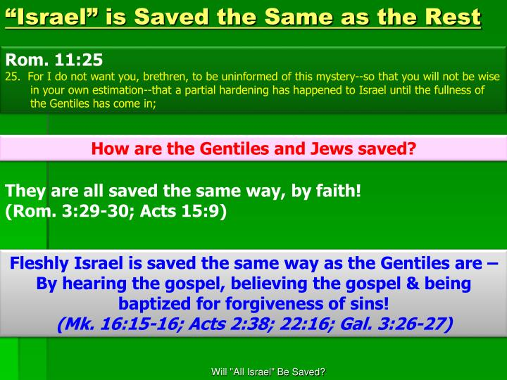 """""""Israel"""" is Saved the Same as the Rest"""