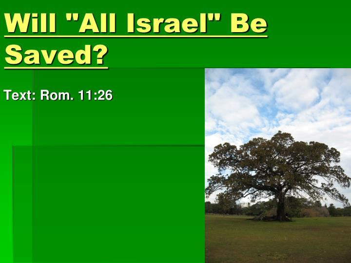 Will all israel be saved