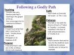 following a godly path