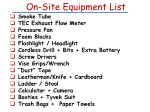 on site equipment list