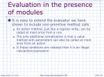 evaluation in the presence of modules