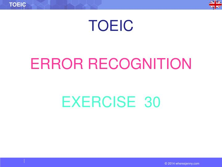 toeic error recognition exercise 30 n.