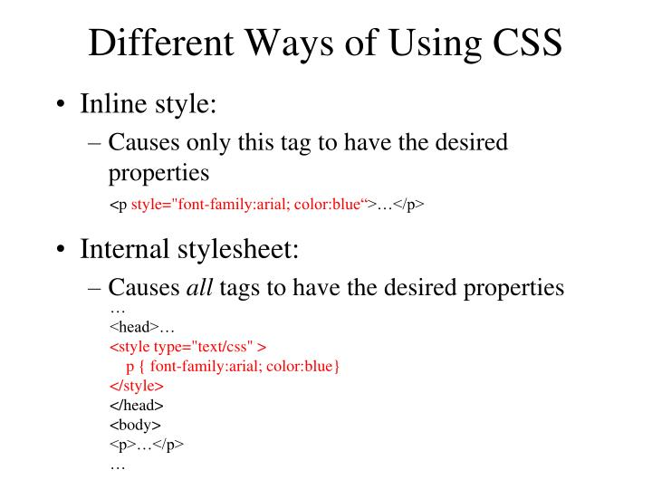 Different Ways of Using CSS