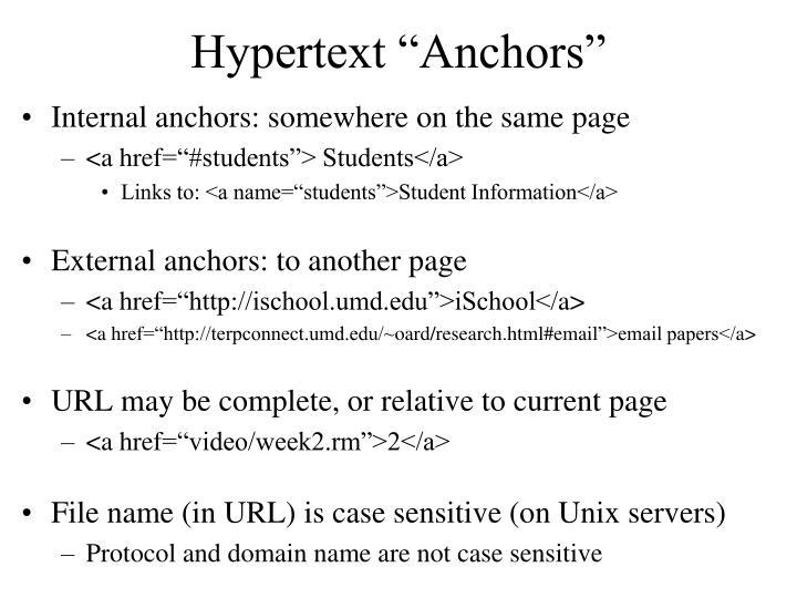 """Hypertext """"Anchors"""""""