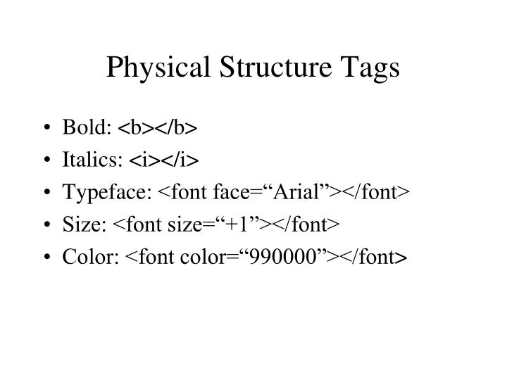 Physical Structure Tags