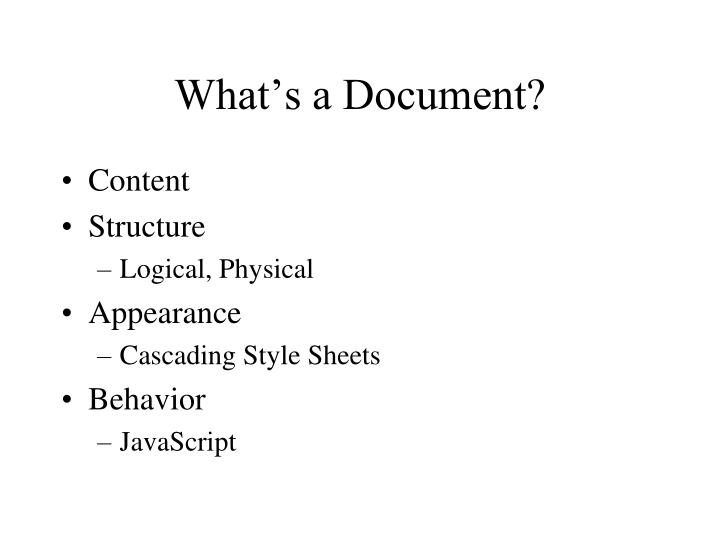 What's a Document?