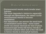 habitat disturbance