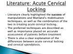 literature acute cervical locking