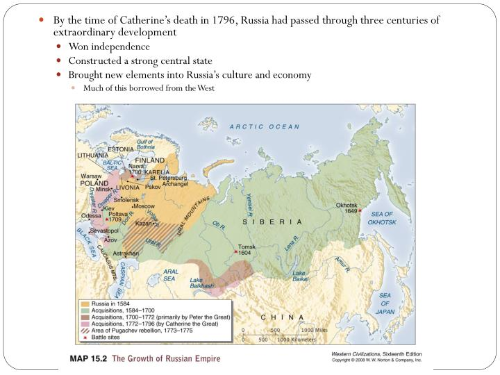 By the time of Catherine's death in 1796, Russia had passed through three centuries of extraordinary development