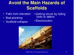 avoid the main hazards of scaffolds