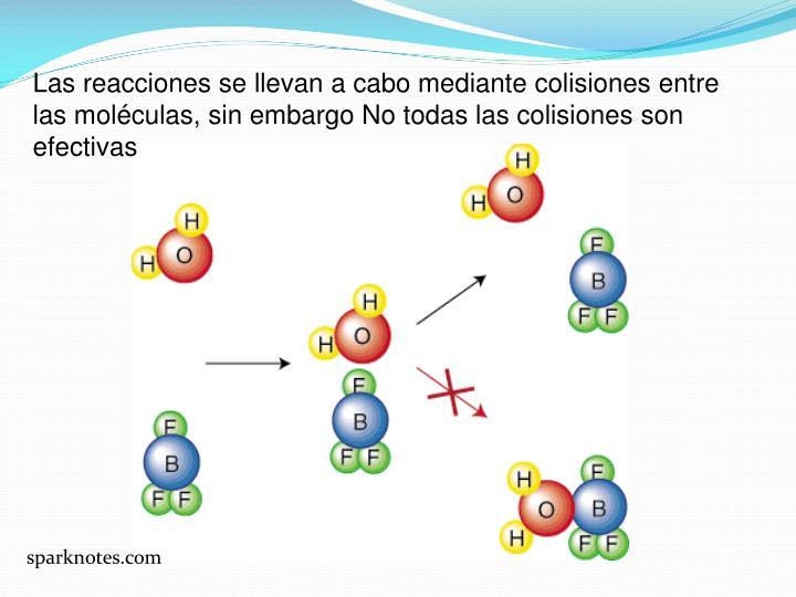 Las reacciones se llevan a cabo mediante colisiones entre las moléculas, sin embargo No todas las c...